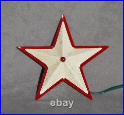 1950's Christmas Tree Topper METAL WHITE STAR Vintage Glowing Red Light Ornament