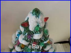 1950's Vintage Ceramic Christmas Tree Light with Plastic Birds and white snow