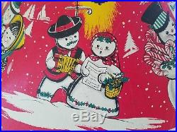 1950s Red Vintage Coloramic Christmas Tree Stand Mr & Mrs Snowman Vivid Colors