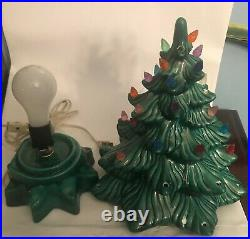 1968 Green Ceramic Christmas Tree with Working STAR BASE Vintage 13.5