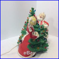 1970s vtg Ceramic Lighted Christmas Tree Santa Mrs Claus Decorating for Holidays