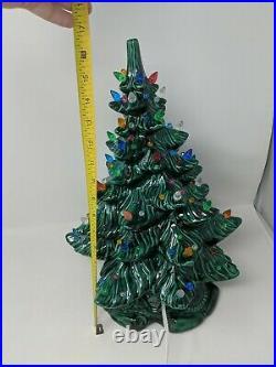 1974 Atlantic Mold 17 Lighted Ceramic Christmas Tree Scroll Base VTG 1970s 70s