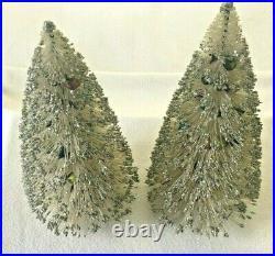 2 VTG Christmas Bottle Brush Tree Mercury Garland Beads White Silver Glitter 13