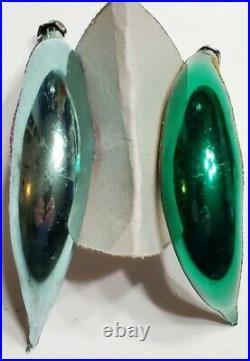 2 Vintage Christmas tree Ornament Man The Moon Crescent Mercury Glass Rare 50s