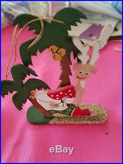 2 Vintage Emgee Hawaii 1970's Wooden Santa sleeping tree Christmas Ornament
