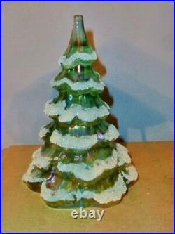 (2) Vtg Fenton Iridescent Green Art Glass 4 & 6.5 Snow Flocked Christmas Trees