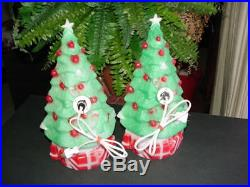 (2) vintage 1981 CHRISTMAS TREE BLOW MOLD lights Carolina Enterprises