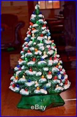 20 116 light ceramic flocked Christmas tree-mid century vintage