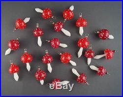 20 VINTAGE BLOWN GLASS MUSHROOMS Christmas tree Ornaments (# 7118)