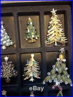 20 Vintage Christmas Tree Brooch Pins Lot Some Signed Weiss, Art, Mamselle