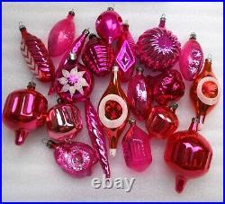 20 Vintage Russian USSR Glass Christmas Ornament Xmas Tree Decoration Pink Set
