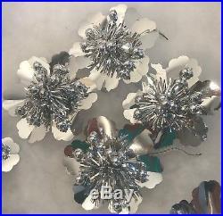 21 Christmas Tree Ornaments Decorations Silver Foil Flower Japan Retro Vintage