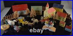 22pc Vintage Erzgebirge Putz German Village Wood Houses Horse & Carts Birds Tree