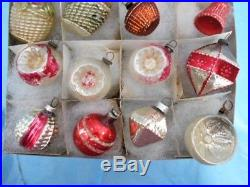24 Small Vintage Figural Glass Christmas Feather Tree Ornaments Pre & Post War