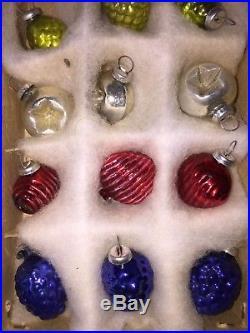 24 Vintage TINY Shackman Japan PINECONE Feather Tree Ornament Christmas IOB RARE