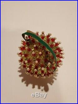 24 Vtg Handmade Xmas Tree Ornaments Beaded Sequin Pins Ribbon Satin