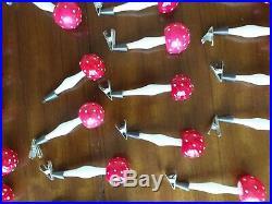 27 X Original Vintage Glass Mushroom/toadstool Christmas Tree Decorations