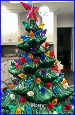 276-Bulb Ceramic Christmas Tree, Vintage, Atlantic A64-a, Rare Find, 22 3/4 x 16