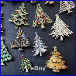 27pc HIGH QUALITY Vintage Rhinestone Holiday Christmas Tree Brooch Pin Lot EE5