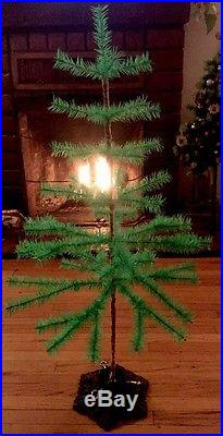 3.5 Ft Goose Feather Christmas Green Tree German Antique Vintage Style Iron Base