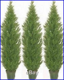 3 CEDAR OUTDOOR TREE 7ft TOPIARY ARTIFICIAL UV CYPRESS PINE EVERGREEN 65 JUNIPER
