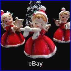 3 NAPCO ViNTaGe ANGeL GIRL Figurines w Tree Hats Holly Flute Banjo Harp