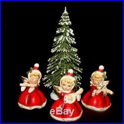 3 NAPCO ViNTaGe ANGeLGIRL Figurines w Tree Hats Holly Flute Banjo Violin