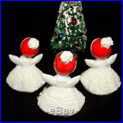 3 Vintage ANGEL GIRL Miniature Figurines & Christmas Tree