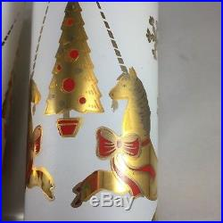 3 Vintage Culver Glasses Tumblers 22k Gold Resting Unicorn Christmas Tree Red