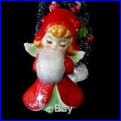 3 Vintage Lefton ANGEL GIRL Figurines with Muffs around Flocked Christmas Tree