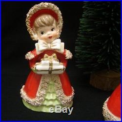 3 Vintage Lefton Girl Bell Figurines with bottle brush Christmas Tree Sweet