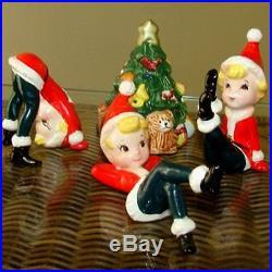 3 Vintage Lefton Pixie Elf Boys Santa Suits Figurines w Ornament Christmas Tree
