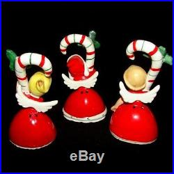 3 Vintage NAPCO Candy Cane Girl angel Bell Figurines w Tree