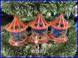 3 Vintage Pink Birdcage Motion Spinner Christmas Tree Ornaments Decorations