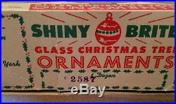 3 Vintage Tree Boxes Shiny Brite Satin Pink Large Glass Christmas 36 Ornaments