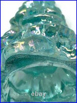3 Vintage c. 1985-96 FENTON Art Glass 643 Iridescent Light Blue Christmas Tree