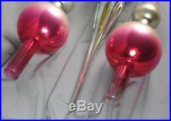 3 Vtg Mercury Glass Christmas Tree Toppers Ornaments Pink