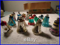 31 Vintage Bell Christmas Tree Blown Glass Ornaments Shiny Brite Poland