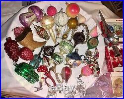 314 VTG CHRISTMAS TREE ORNAMENT LOT GLASS INDENT MICA BELL ANTIQUE FIGURAL L@@k