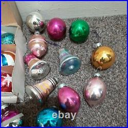 33 x Vintage Christmas Tree Baubles mercury glass 4 concave1950/60s