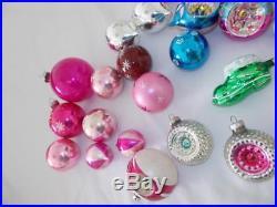 39 vintage TORPEDO INDENT Christmas TREE ornaments glass Poland Shiny Brite LOT