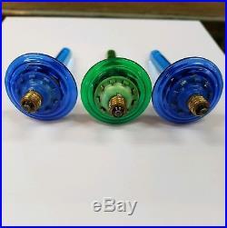 3rare Vintage Christmas Tree Oil Bubble Light Blue/green Saucer Base Paramount