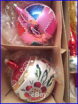 4 Large Vintage Mercury Glass Christmas Ornaments & Tree Topper Poland