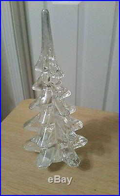 4 VINTAGE Clear Crystal Glass Christmas Tree's 8 1/2 , 6, 4 1/2, 3