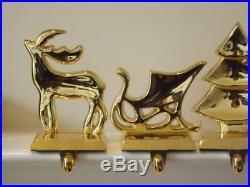 4 Vintage Brass Stocking Hangers Holders Christmas Tree Reindeer Sleigh Angel