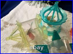 4 Vintage Christmas Tree Twinklers Bird Cage Star Spinner Ornaments Mid Century
