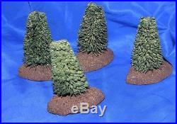 4 Vtg Antique 1920's Xmas Putz Village Erzgebirge German Miniature Trees, Mounds