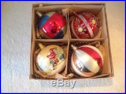 4 Vtg Jumbo Blown Glass Christmas Tree Mica Ornaments Poland Balls Santa Flower