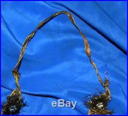 4 Vtg Victorian C1900 Metallic Mesh Tinsel N Ribbon Xmas Tree Garland Medallions