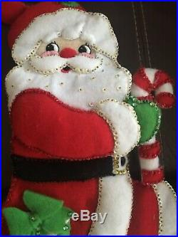 (4) in Lot Vintage Bucilla Handmade Finished SANTA Christmas Tree Stockings